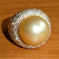 Inel din aur de 18 K, cu diamate si perla ; 15, 8 grame - Inel diamant, Culoare: Galben