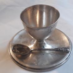ZAHARNITA sau SOSIERA argint cu LINGURITA argint SET superb VECHI splendid RAR, Tacamuri