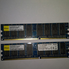 Memorie Ram 2 x 1 Gb DDR1 / PC-3200U / 400 Mhz Elixir (26E), 2 GB, Dual channel