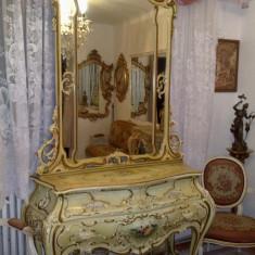 Comoda cu oglinda, vintage, stil baroc / rococo / Ludovic, H 2, 47m, Sufragerii si mobilier salon, Dupa 1950