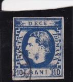 ROMANIA 1869 LP 26 CAROL I CU FAVORITI VAL. 10 BANI ALBASTRU STAMPILAT