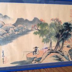 Tablou acuarela veche japoneza - Tablou autor neidentificat, Natura, Altul