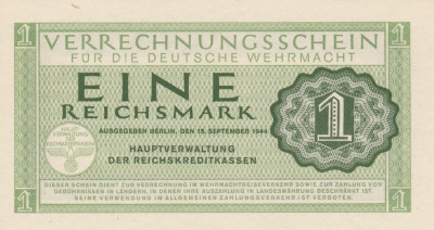 Germania   1 Reichsmark  ND  1944 Wehrmacht  P.M38  UNC foto