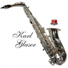 Saxofon Alto Karl Glaser ARGINTIU NOU curbat Saxophone Germania
