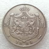 5 LEI 1883-ARGINT-CAROL I REGE- 6 STELE 5 RAZE - Moneda Romania