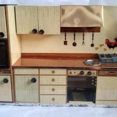 Jucarie mobilier bucatarie pentru pausi, tabla, Martin Fuchs (Germania), vintage