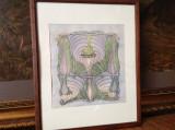Tablou, detaliu Art Nouveau,  tus si acuarela, Nonfigurativ, Altul
