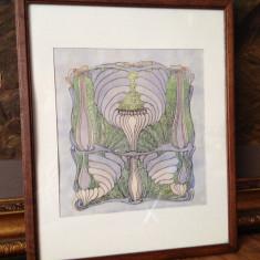 Tablou, detaliu Art Nouveau, tus si acuarela - Tablou autor neidentificat, Nonfigurativ, Altul