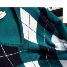 Pulover casmir 100% cashmere James Pringles Weavers nr.L-XL original - Pulover barbati Tommy Hilfiger, Culoare: Verde, La baza gatului