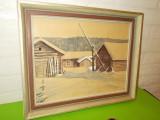 PEISAJ de IARNA , veche ACUARELA semnata , 1944 , inramata , sticla protectie, Peisaje, Altul