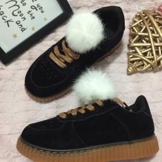Tenisi negri maro puf pantofi sport adidasi papuci copii fete 30 31 32 33 34 35 - Tenisi copii, Culoare: Din imagine
