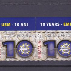MONEDA EURO 10 ANI, X2 CU MARGINE DE COALA, AURIT, 2009, MNH, ROMANIA. - Timbre Romania, Istorie, Nestampilat