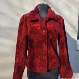 Haină nasturi, S/M, burgundie - haina de blana