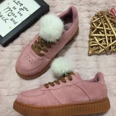 Tenisi roz maro cu puf alb pantofi sport adidasi papuci copii fete 31