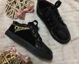 Tenisi negri aurii lac cu catifea adidasi fashion pantofi copii fete fetite 31