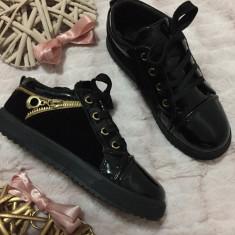 Tenisi negri aurii lac cu catifea adidasi fashion pantofi copii fete 31 32 33 35 - Adidasi copii, Culoare: Din imagine, Piele sintetica
