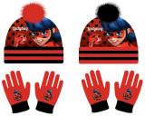 Set Căciulă cu pompon si mănuși Miraculos-Buburuza-Ladybag, Negru, Rosu