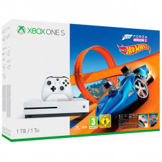 Consola Microsoft Xbox One S 1Tb Alb + Forza Horizon 3 + Expansiune Hot Wheels (Download Codes) - Consola Xbox