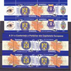 CONFERINTA POLITISTILOR DIN CAPITALELE EUROPENE, X2, TETE-BECHE, 2009, MNH, ROMANIA - Timbre Romania, Militar, Nestampilat
