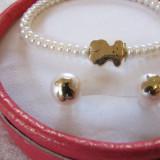 Set  aur  18k Tous bratara si cercei cu perle naturale