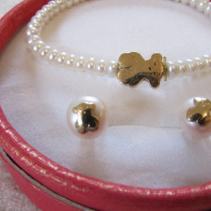Set aur 18k Tous bratara si cercei cu perle naturale - Set bijuterii aur