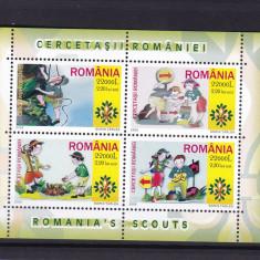 ROMANIA 2005  LP 1686 b  CERCETASII ROMANIEI   BLOC DANTELAT  MNH