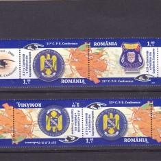 CONFERINTA POLITISTILOR DIN CAPITALELE EUROPENE, TETE-BECHE, 2009, MNH, ROMANIA - Timbre Romania, Militar, Nestampilat