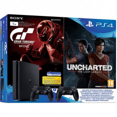 Consola Sony Playstation 4 Slim 1Tb + Gran Turismo Sport + Uncharted The Lost Legacy + Controller Dualshock 4 V2 - Jocuri PS4