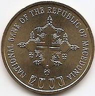 Macedonia 1 Denar 2000  - (Year error)  KM-27 UNC !!!