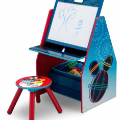 Set 2 in 1 organizator si birou cu tablita si scaun Mickey Mouse Activity Center - Set mobila copii