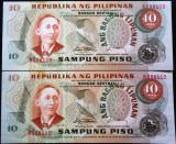 Lot/Set 2 Bancnote SERII CONSECUTIVE+ NECIRCULATE 10 PISO- FILIPINE, ND *cod 61