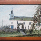 Manastire - semnat M.Martin - Pictor strain, Peisaje, Ulei, Altul