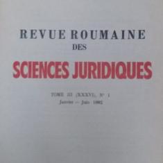 REVUE ROUMAINE DES SCIENCES JURIDIQUES – TOME III (XXXVI) - NR. 1 / 1992