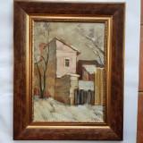 NICOLAE POPA -PICTOR , ARTIST IESEAN - PEISAJ DE IARNA IN IASI-1947-ulei/carton, Peisaje, Realism