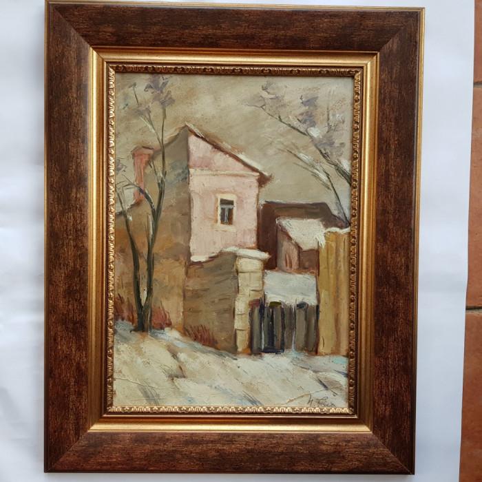 NICOLAE POPA -PICTOR , ARTIST IESEAN - PEISAJ DE IARNA IN IASI-1947-ulei/carton