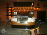 Bar Profesional ,inox,marmura si lemn de nuc , vitrina frigorifica