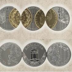 RARITATE Set aniversar Monetaria Statului - 145 de ani 20 lei 1870 Carol I
