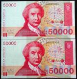 Lot/Set 2 Bancnote 50000 Dinari- CROATIA, SERII CONSECUTIVE+ NECIRCULATE! cod 17