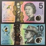 Bancnota Australia 5 si 10 Dolari 2016/17 - PNew UNC ( polimer - set x2 )