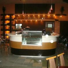 Bar Profesional, inox, marmura si lemn de nuc, vitrina frigorifica