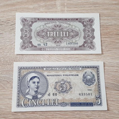 Lot 3 + 5 lei 1952 UNC necirculate - Bancnota romaneasca