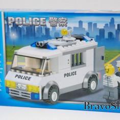 Jucarie constructiva Kazi - Masina de politie 135 piese, joc compatibil lego - LEGO Cars