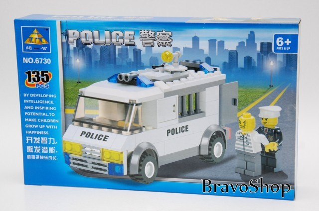 Jucarie constructiva Kazi - Masina de politie 135 piese, joc compatibil lego