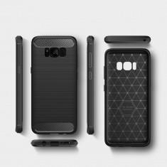 Carcasa de protectie Carbon Fiber husa din silicon TPU Samsung Galaxy S8+ Plus