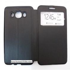 Husa HUAWEI P9 LITE MINI portofel carte flip cu fereastra neagra 2017 DIGI - Husa Telefon, Maro, Cu clapeta