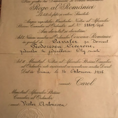 Brevet Coroana României in Grad de Cavaler