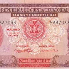 """Guinea Ecuatoriala      1000 Ekuele 1975 """"Maise""""   P.13   UNC"""