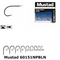 Set 10 Carlige Mustad NR4 Power Allround Cioc de Papagal Nichel m.60151npbln.4 - Carlige Pescuit