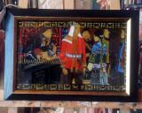 Tablou inramat asiatic. Pictura pe sticla, 49/35cm., Scene gen, Ulei, Realism