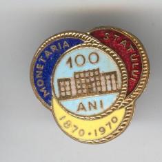 MONETARIA STATULUI 1870-1970 - Insigna EMAIL Romaia